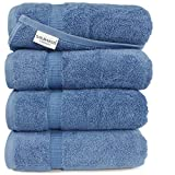 SALBAKOS Organic Turkish Cotton Hotel Bath Towel, 700 GSM, 27 by 54 Inch, Pack of 4, White