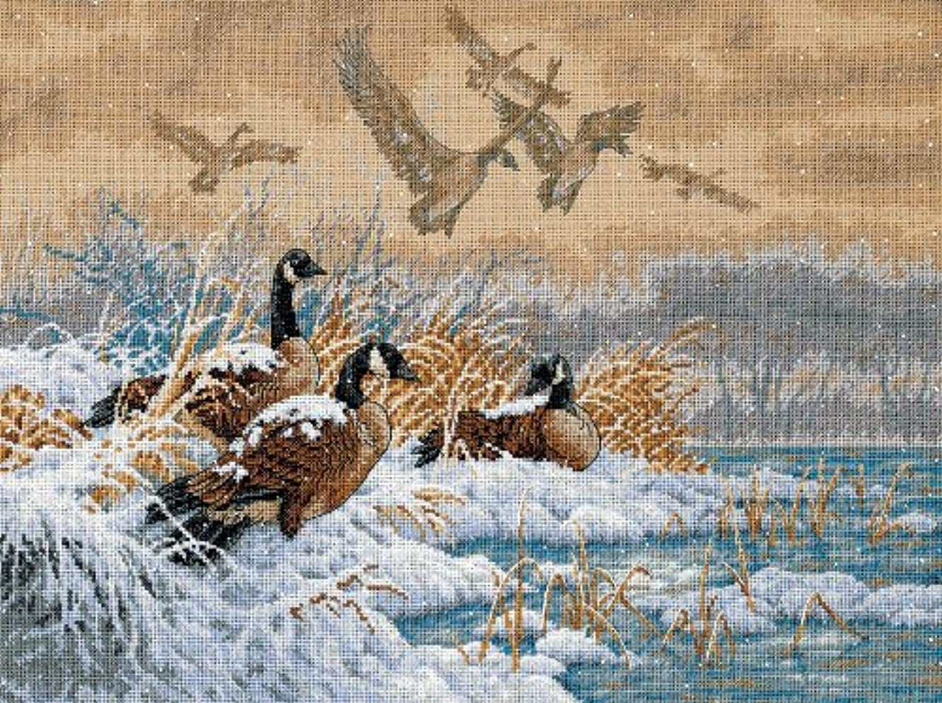 Dimensions Gold Collection Counted Cross Stitch Kit, Winter Retreat, 18 Count Beige Aida, 16'' x 12''