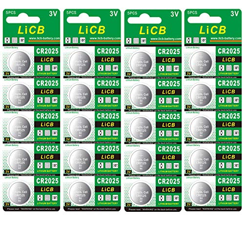 LiCB CR2025 Battery,CR2025 Lithium Batteries,3 Volt Coin & Button Cell (20-Pack)