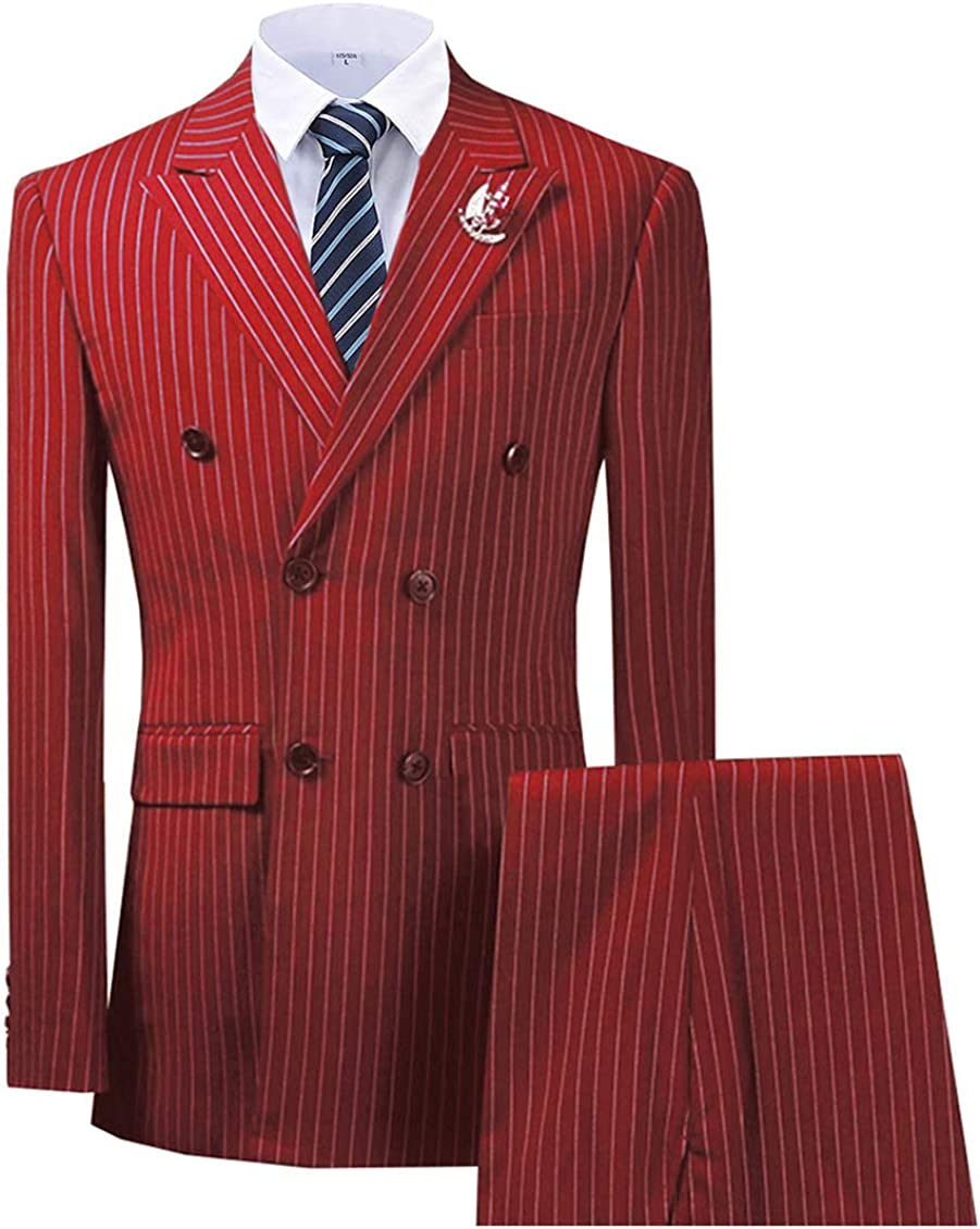 TcaLuky Men's Slim Fit 2 Piece Dress Suit Double Breasted Pinstripe Tuxedo Prom Wedding Party Jacket & Pants
