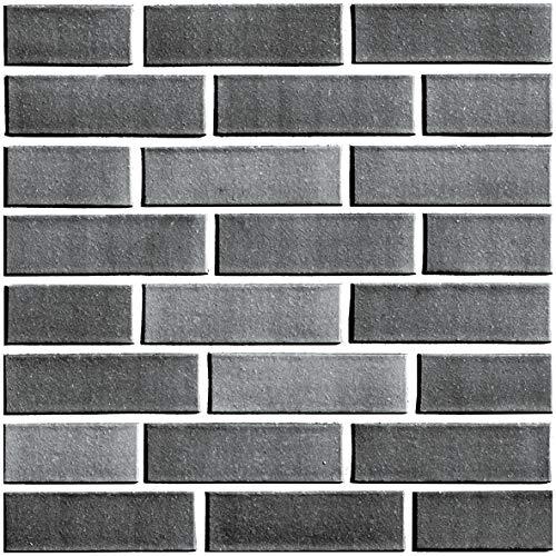 Beyond Zimmerdeko Fließenaufkleber 3D Steinwandoptik Wandaufkleber 30 x 30 cm, 6er-Set, Selbstklebend, Brick Grau 512