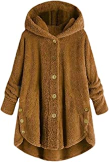 Hooded Faux Fur Coats for Women Long Jacket Button Fluffy Pullover Loose Sweater