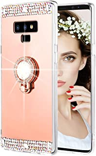 Caka Galaxy Note 9 Case, Galaxy Note 9 Glitter Case Mirror Series Bling Luxury Shiny Mirror Makeup Protective TPU Case for Girls with Ring Kickstand Diamond for Samsung Galaxy Note 9 (Rose Gold)