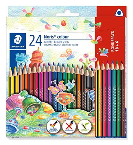 STAEDTLER Noris Colour Buntstift (erhöhte Bruchfestigkeit, Dreikantform, attraktives Design, ergonomische Soft-Oberfläche, WOPEX-Material, Bonus-Set mit 24 brillanten Stiften im Kartonetui), 187 C18P1