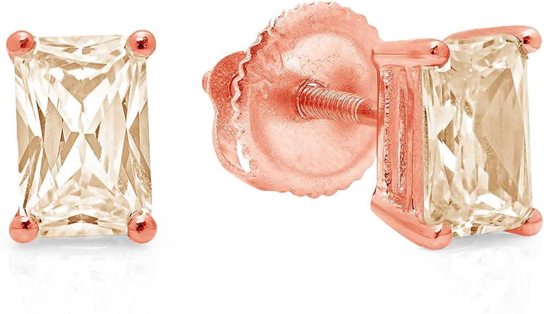 1.0 ct Brilliant Emerald Cut Solitaire Genuine Yellow Moissanite Gemstone Pair of Designer Stud Earrings Solid 18K Pink Rose Gold Screw Back