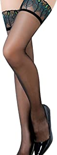 The Ultra Thin Lace Sheer Thigh High Peacock Feather Top Stockings Green