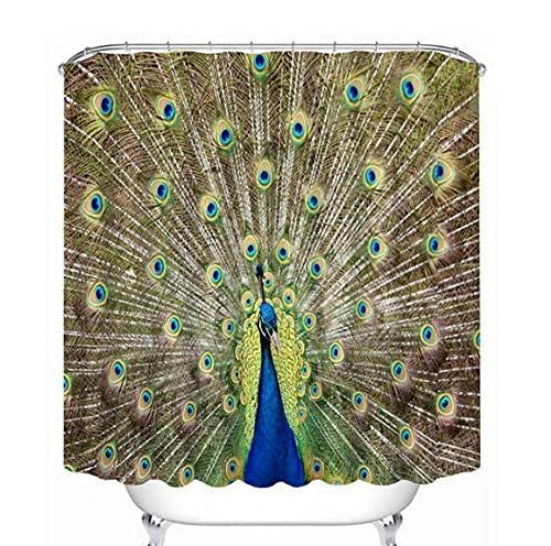 Bathroom Shower Curtain Pfirsichblüten Duschvorhang Stoff Waschbar 3D Digitaldruck Mit 180*180Cm Top Qualität Wasserdicht, Anti-Schimmel-Effekt 3D Digitaldruck Inkl. 12 Duschvorhangringe Für Bad