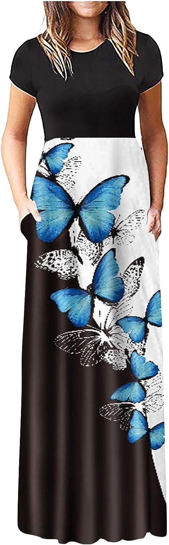 Aniwood Maxi Dresses for Women, Women's Short Sleeve Tie-dye Tunic Casual Maxi Long Dress with Pockets Beach Sundress