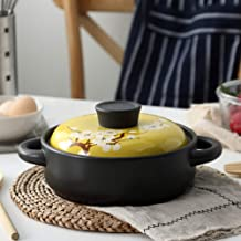 Heat-Resistant Ceramic Covered Casserole with Color Glaze Lid and Handle,Japanese Non-Stick Earthen Pot Yellow 3.7quart