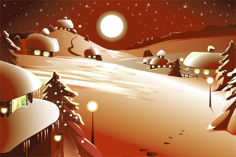 Laeacco Cartoon Christmas Portland Mall Backdrop Vinyl Small Village F 8x6.5ft Overseas parallel import regular item