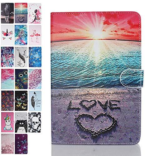 ANCASE Fundas duras para Tablets Apple iPad Mini 5 4 3 2 1 con Tapa Libro PU Case Cover Completa Protectora Carcasa de Cuero, Playa del corazón del Amor