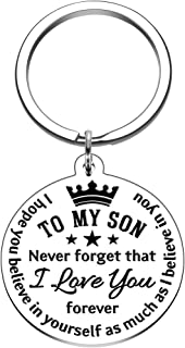 To My Son Inspirational Gift Keychain from Dad Mom Never Forget That I Love You Forever Birthday Graduation Christmas Back...