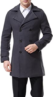 Men's Double Breasted Overcoat Pea Coat Classic Wool Blend Winter Coat