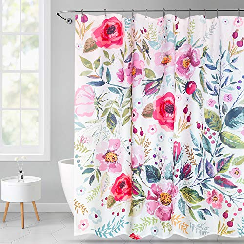 VVA Floral Fabric Shower Curtain, Waterproof Colorful Chic Rose Flower Bathroom Polyester Shower Curtain for Bathtub Showers,72x72 inches