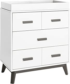 Babyletto Scoot 3 Drawer Changer Dresser with Removable Changing Tray, Slate/White