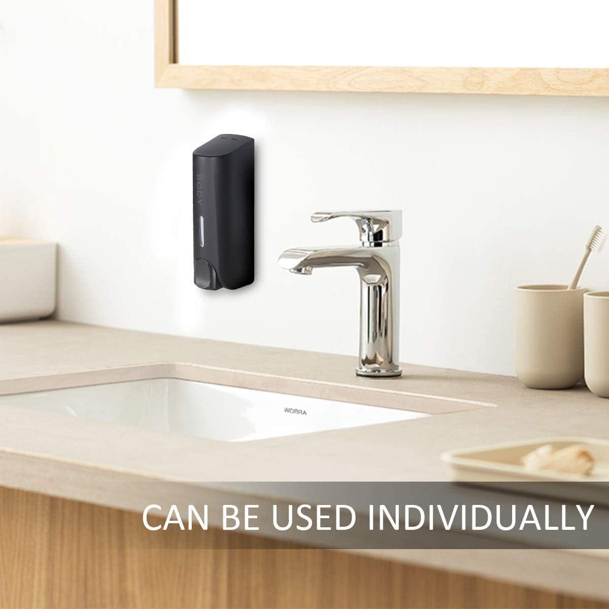LUOWAN Shower Soap Dispenser ,Shampoo Dispenser,Sanitizer Dispenser Wall Mount Shower Liquid Soap Dispenser 2 Pack Head Shampoo Dispensers for Bathroom Hotel Home Accessories (Black) : Home & Kitchen