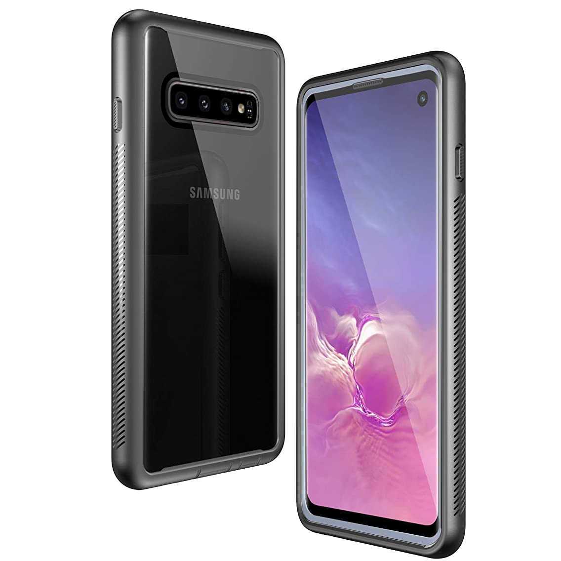 Samsung Galaxy S10 Case, KUMEDA Galaxy S10 Cover [Ultra Lightweight] Anti-Scratch Reinforced Corner Protection Bumper Case for Galaxy S10 6.1 inch 2019 Release (Black/Gray+Clear)