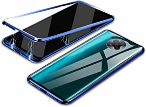 """EUDTH Redmi K30 Pro Case, 360° Full Body Magnetic Adsorption Metal Frame Flip 9H Tempered Glass [Front and Back] Full Screen Coverage Protective Case Cover for Xiaomi Redmi K30 Pro 6.67"""" -Blue"""