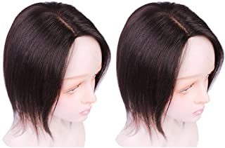Silk Lace Base Human Hair Toupee Topper Hair Toppers for Women Clip In Human Hair Extension 130% Volume Hairpieces Natural Black,Brown lace (8.6 inches left part, dark brown)
