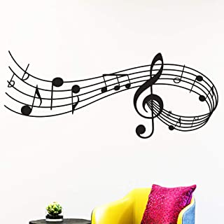 Music Notes Silhouettes Wall Sticker Decal with Black ZONPEN Vinyl Music Notation Art Mural Wallpaper Removable DIY Home D...