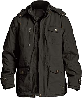 Men's Winter Jackets Fleece Lining with Detachable Hood Stand Collar and Multi Pockets