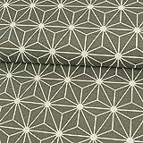 Dekostoff grafisches Würfel Stern Muster grau Canvasstoffe