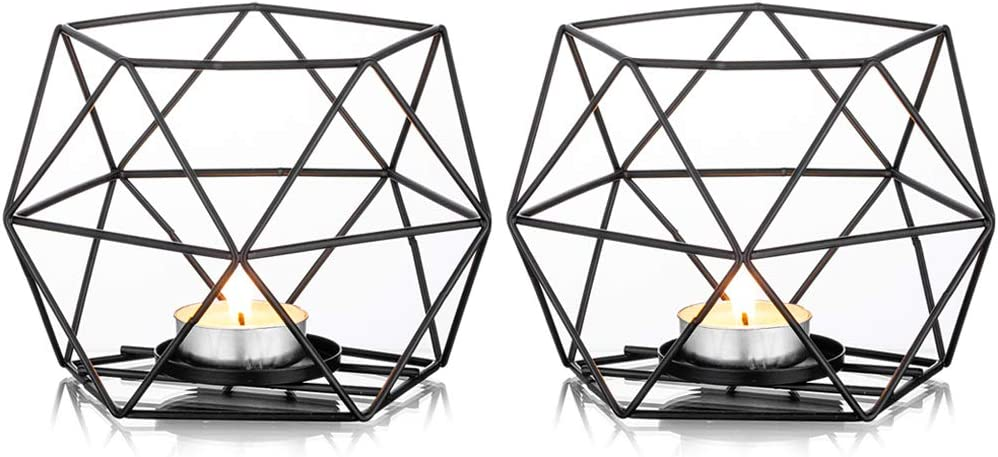 NUPTIO Tealight Holders Black Candle Holder, Metal Geometric Tea Light Candle Holder, Pillar Candle Holder Centerpieces for Wedding Home Coffee Tables Decor, Ceremony and Anniversary, 2 Pcs