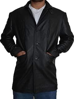 Parevaas Men's Max Payne Mark Wahlberg Genuine Lambskin Black Leather Jacket