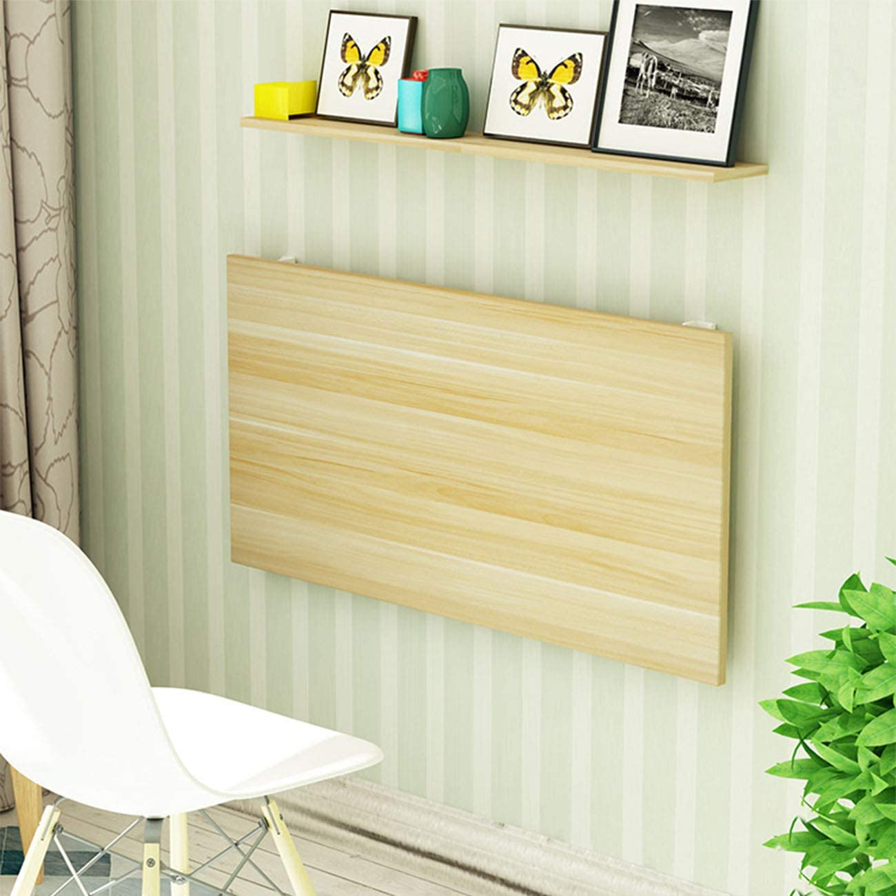 Folding 売れ筋ランキング Wall-Mounted Drop-Leaf Table Solid Wood Desk Wall 初売り Dining