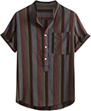 VOWUA Shirts for Mens Vintage Casual Comfy Button Hawaii Plaid Print Beach Short Sleeve Top Blouse