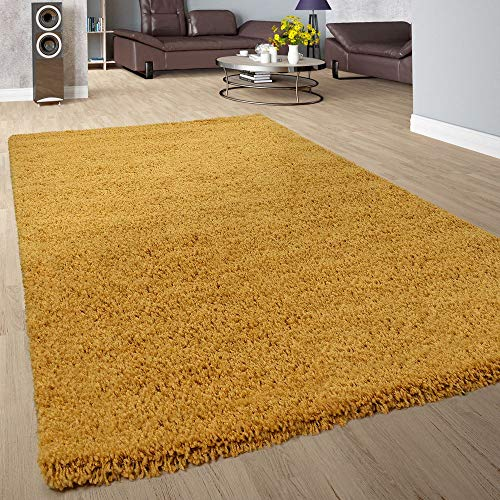 Paco Home Shaggy Hochflor Teppich Wohnzimmer Langflor Kuschelig Einfarbig In Gelb, Grösse:160x220 cm