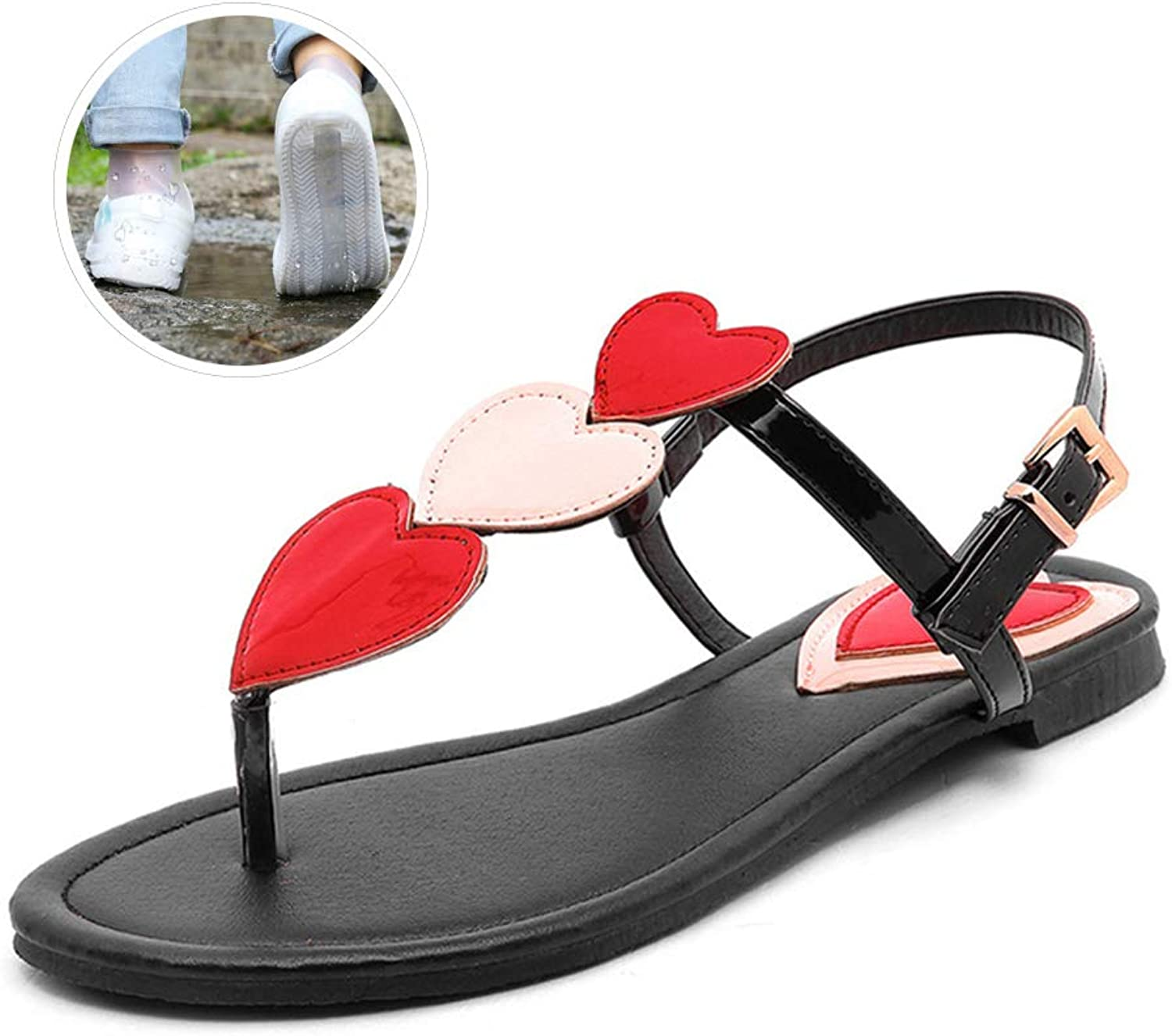 Sandals Woman Casual Comfortable, Buckle Strap Flat with Heart-Shaped Casual Sweet shoes, Flat Plus Size Sandals 35-45, with shoes Cover,Black,5.5US