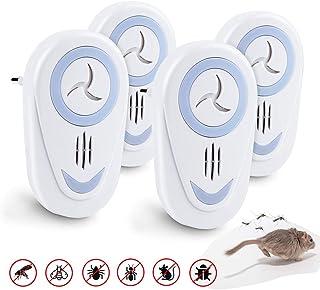FEALING Repelente Ultrasonico,4 Pack Repelente Mosquitos Ultrasonido,Repelente de Insectos,Control de Mosquitos Interiores para Cucarachas,Roedores,Moscas,Hormigas, Arañas,Ratones No Tóxico