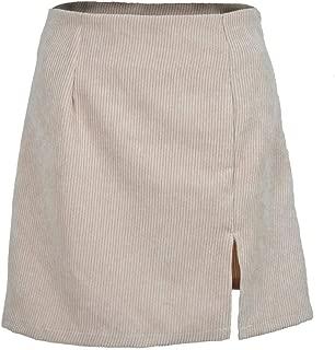 Fitfulvan Womens High Waist Corduroy Skirt Solid Color Side Split A-line Short Mini Skirt
