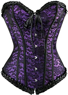 Plus Size Corsets for Women's Lace Up Floral Corset Bustier Lingerie Top