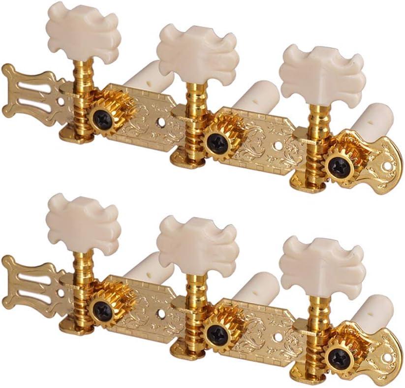 Festnight 1 par de clavijas de afinación de guitarra doradas, clavijas de afinación de cuerdas de guitarra clásica, sintonizadores, cabezales de máquina