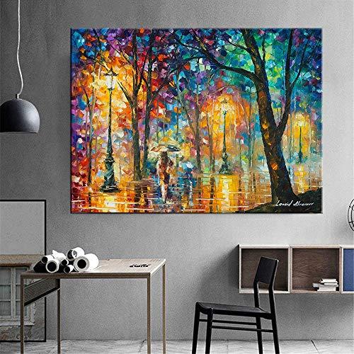 KWzEQ Cuadro En Lienzo Cartel Abstracto de la Escena de la Calle y Cuadros Decorativos para la decoración del hogar de la Sala de Estar,30x45cm,Pintura sin Marco