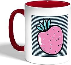Printed Coffee Mug, Red Color, Fruit - Strawberry