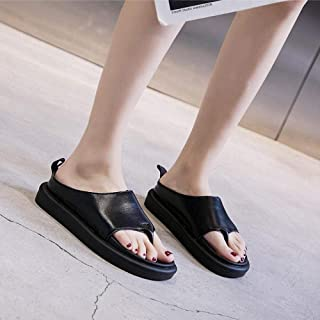 Flip Flops for Women,Flat Sandals and Slippers, Ladies Thick-Soled Fashion Flip Flops-Black_37