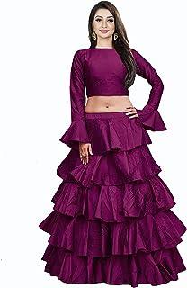 فستان Lehenga Choli النسائي من حرير التفتة الأرجواني شبه مخيط