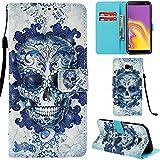 Ooboom Samsung Galaxy J4 Core Hülle 3D Flip PU Leder Schutzhülle Stand Handy Tasche Brieftasche Wallet Hülle Cover für Samsung Galaxy J4 Core - Schädel Blau