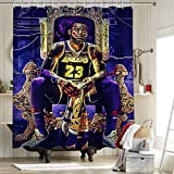 Los Angeles Lakers Championship - Cortina de ducha de tela de poliéster antihumedad 2020 FMVP Lebron James King Crown Art Sports Player Poster de 150 x 180 cm