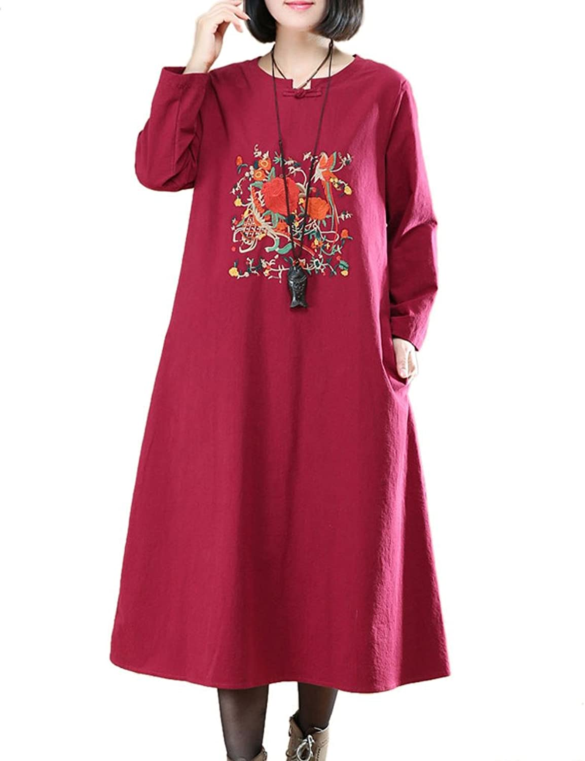 CDCLOTH Women's Plus Size Loose Long Sleeve Casual Vintage Cotton and Linen Dress