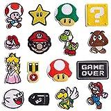 Inntek 16pcs Parches de Planchado, Parches Bordados, Parches para Coser en Ropa Chaquetas Mochilas Vaqueros Diseño Videojuegos de Super Mario Bros