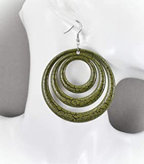 Olive Green Earrings For Women Set Lightweight Dangle Round Circle Plastic Disc 3.25