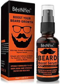 Beard Growth Serum with Biotin & Caffeine – Naturally Powerful, Full, Thick, Masculine Facial Hair Treatment Infused with Biotin and Caffeine for Men