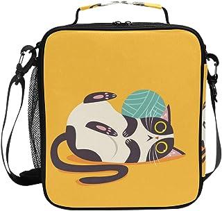 Sac à déjeuner isotherme jaune avec motif chat mignon, sac à main de grande capacité, sac à main isotherme pour enfants, f...