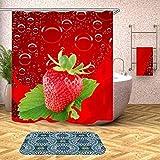 DHLZ Duschvorhang Rote Erdbeere Wasserdicht Polyester Duschvorhänge Bad Mit 12 Haken Ringe Set Wohnkultur 180 * 200 cm