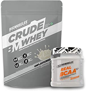 Bigmuscles Nutrition Crude Whey 1kg, Whey Protein Concentrate 80%, 24g Protein, 5.5g BCAA, 4 g Gluta & Bigmuscles Nutrition Real BCAA Tropical Madness 50 Serving (250 gm)