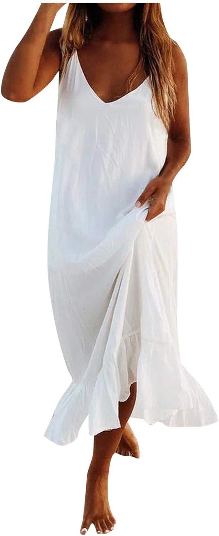 LINASHI Summer Dresses for Women V Neck Sleeveless Ruffle White Long Maxi Dresses Beach Cover Ups Swimwear